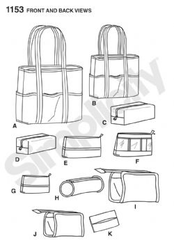 1153 Simplicity Pattern: Accessory Bags in Various Sizes